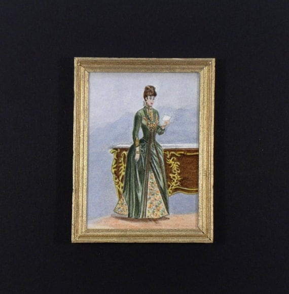 Dollhouse Miniature Original Painting Handmade OOAK after French Fashion Plate c1886