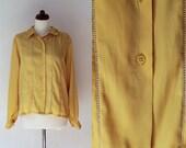 Yellow Blouse - 1980's Secretary Blouse - Size S-M