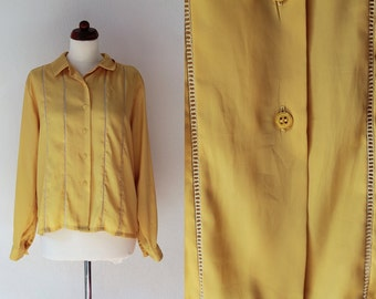 Yellow Blouse - 1980's Secretary Blouse - Size S-M