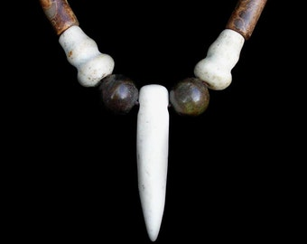 Ancient Jade Tooth Claw Pendant Choker Necklace with Ancient and Antique Jade Beads by NeoWare