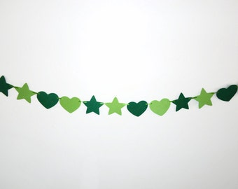 Hearts and Stars Banner, Love Garland, Green Shimmer Bunting Banner, Glitter Party Decor, Wall Hanging, Irish Home Decor