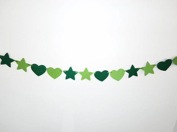 Hearts and Stars Banner, Love Garland, Green Shimmer Bunting Banner, Glitter Party Decor, Wall Hanging, Irish Home Decor