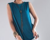 Turquoise Top / Sleeveless Turquoise T Shirt / Turqouise Tank Top : Urban Chic Collection No.4