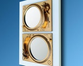 2Play - Technics Turntable Inspired Mirror Sculpture - Gold & White  - Original Contemporary British Art