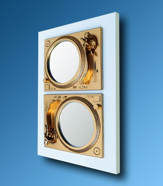 2Play - Technics Turntable Inspired Mirror Sculpture - Gold & White  - Original Contemporary British Art