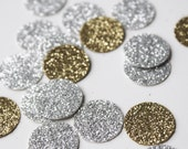 150 Gold and Silver Glitter Confetti - 1 inch Circle Confetti Die Cut - First Birthday - Party Decorations - Bridal Shower - Throw Confetti