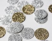 150 Gold and Silver Glitter Confetti - 1 inch Circle Confetti Die Cut - First Birthday - Party Decorations - Bridal Shower - Throw Confetti