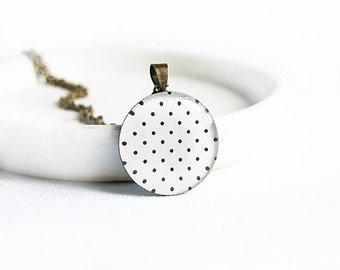 Polka dot necklace dainty pendant necklace white jewelry polka dot