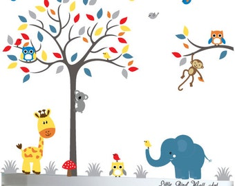 Wall decal for baby grey red blue yelllow childrens jungle wall art - 062