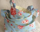 Blue Floral Fabric Basket Set made with Cath Kidston Rosali Fabric - set of three nesting baskets - READY TO DISPATCH
