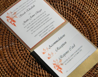 Wedding Invitation Suite - Fall Leaf Branch Pocket fold in Burnt Orange and Gold Perfect for the Fall
