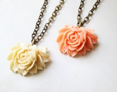 Vintage Style Rose Cabochon Necklace, Flower Statement Necklace, Floral Pendant Necklace, Cabochon Necklace