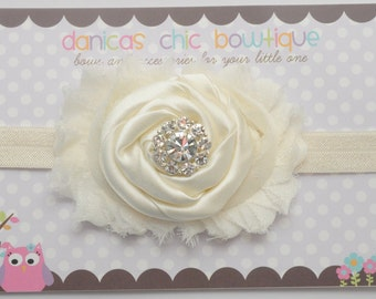 Cream shabby chic headband, baptism bow , christening bow- newborn, infant, child, teen or adult sizes