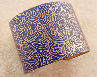 "Handmade Bracelet, Etched Copper Cuff,  Cornflower Blue Doodles Pattern, 2"""