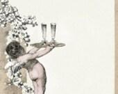 New Year Cherub Angel Champagne Glass Party Invitation Background Border - Digital Image Vintage Art Illustration