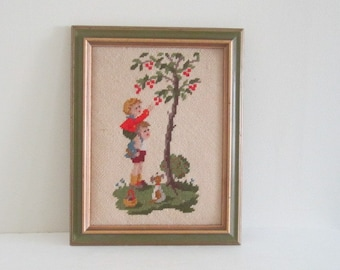 Petit Point Needlepoint Framed Picture - Little Boy and Girl Picking Apples