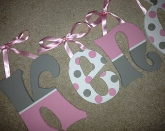 Olivia Rose - hand painted - custom - wooden wall letters