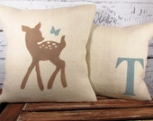 Child's deer & butterfly, monogram burlap pillow covers - set of 2 - perfect for a rustic woodland nursery - Pillow Inserts Sold Separately