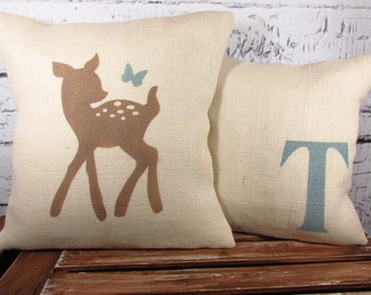 Child's deer & butterfly, monogram burlap pillows - set of 2 - perfect for a rustic woodland nursery