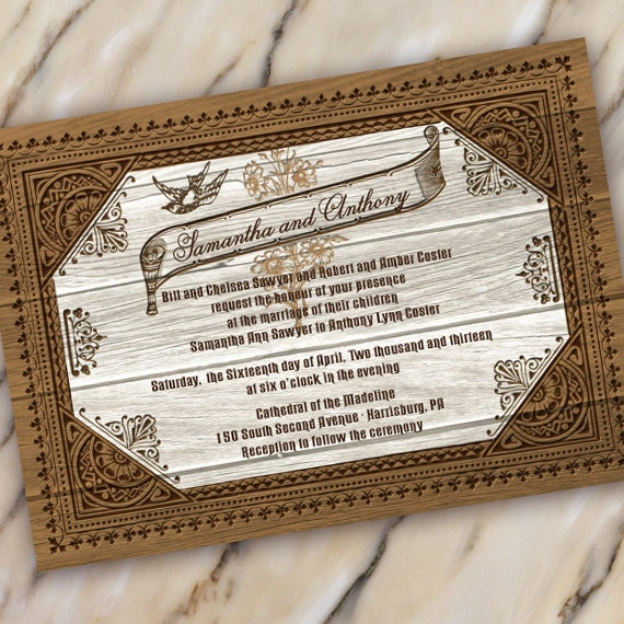 wedding invitation, barnwood wedding invitation, distressed wood wedding, cowboy retirement, country wedding, cowgirl graduation, IN279