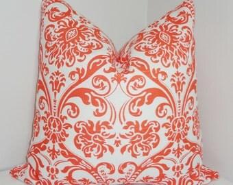 Orange White Damask Pillow Cover Decorative Pillow Cover Throw Pillow 18x18
