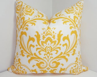 INVENTORY REDUCTION Corn Yellow/White Damask Pillow Cover Decorative Pillow Yellow Damask Throw Pillows 20x20