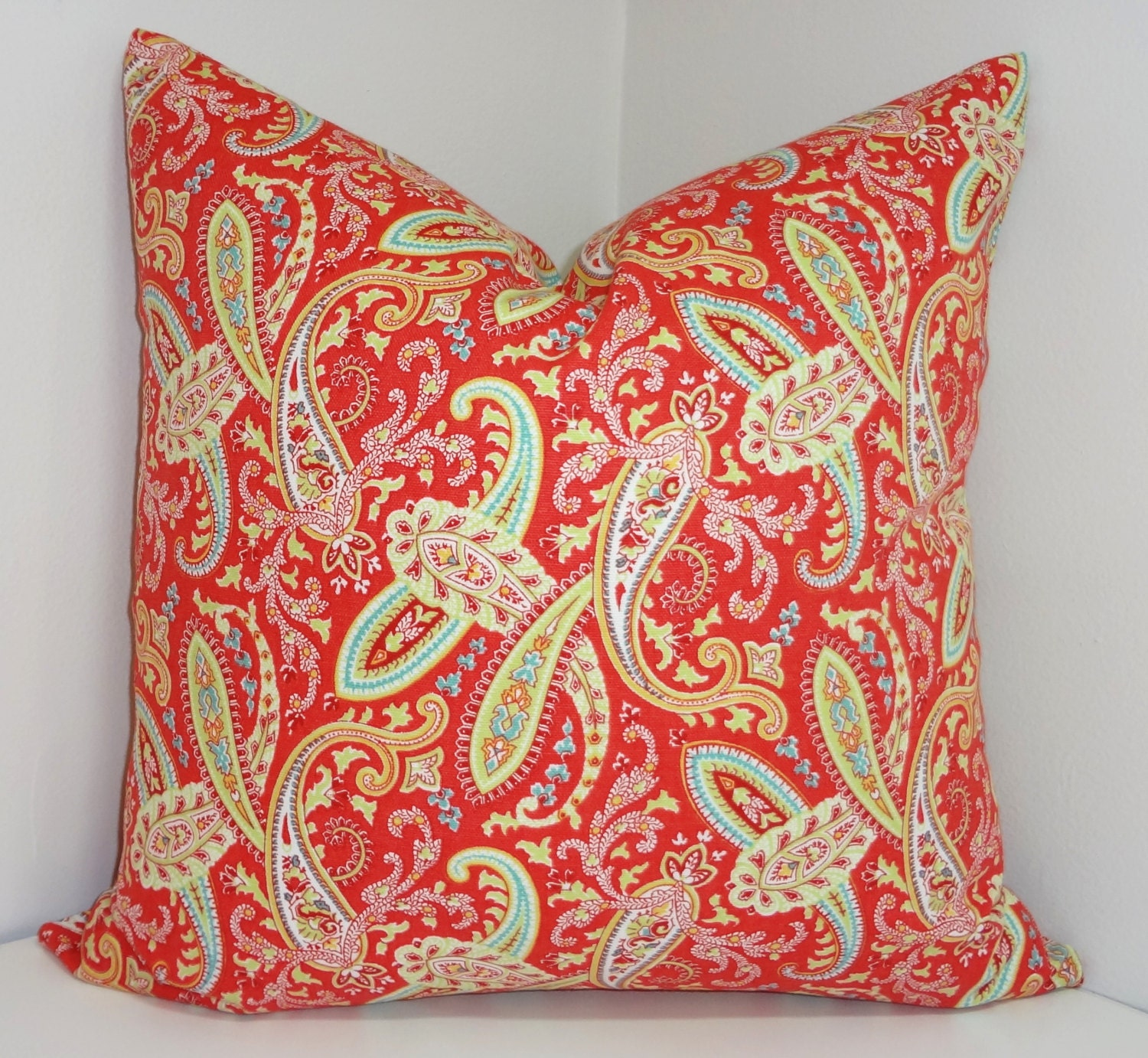 Red Coral Decorative Pillow : Coral Red Yellow Blue Paisley Print Pillow Covers Decorative