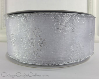 """Wired Christmas Ribbon, 2 1/2"""", White Sheer Silver Snowflakes Glitter - FIFTY YARD ROLL - Wreath, Decor, Craft Wire Edge Ribbon"""