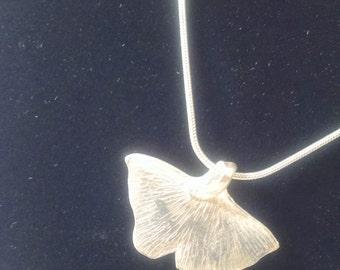Silver Ginkgo Pendant, .999 Fine Silver Pendant