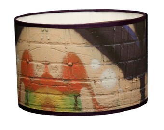 Drum fabric lamp  shade, graffiti lamp shade, handmade, colourful unique lamp shade, custom lamp shade, art lamp shade,