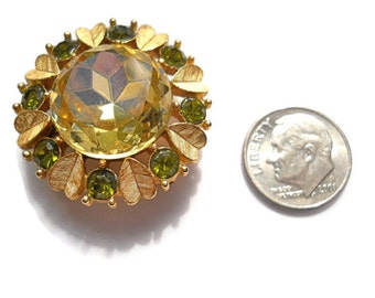 Vintage Brooch Avon  Citrine and Peridot Rhinestone Mothers Day