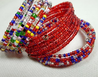 Wrap Around Seed Beads Bracelets, Reclaimed/Repurposed Vintage Beads, Trio of Beaded Wrap Bracelets, Stack 'Em & Wrap 'Em Bracelets, Lovely-