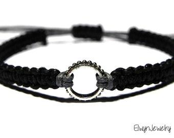 Mens Bracelet, Mens Jewelry, Rope Bracelet, Black Cord Bracelet, Macrame Bracelet, Braided Bracelet, Men's Gift, Gift for Boyfriend