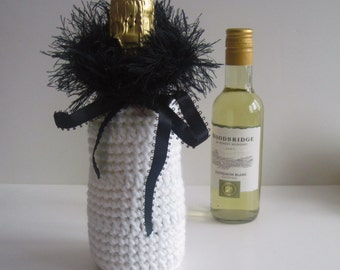 Mini Wine or Champagne Bottle Covers Crochet Cozy Gift Wrap - White and Black