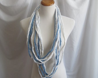 Infinity Crochet Scarf Cowl Cotton Necklace - Shades of Baby Blue and White