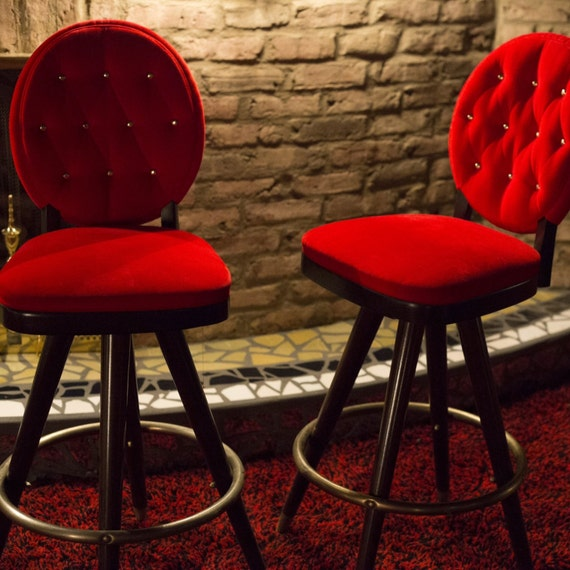 Sale 6 Midcentury Red Velvet Bar Stools By Gloryfolklore