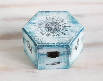 Sea Treasury Pirate Wooden Box, Keepsake box, Memory box, Blue box, Treasury  Box ,  Jewelry box ,   ohtteam