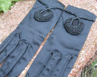 Vintage 1960s Black Beaded Gloves, Womens. Small Size. Satin.