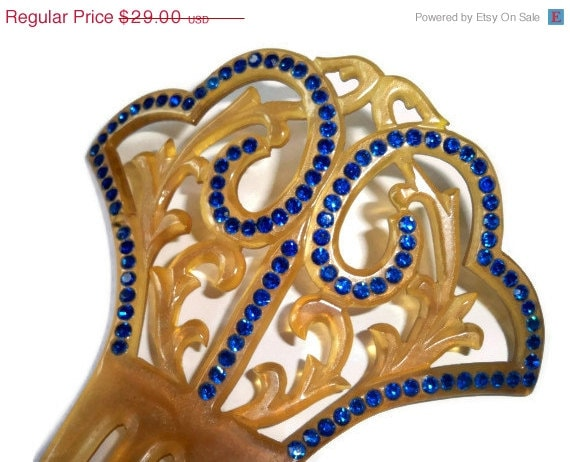 SALE Wedding Accessory  - Vintage Art Deco Hair Comb - Frosted Gold Celluloid and Royal Blue Rhinestones - Great Gatsby, Flapper Girl, Jazz