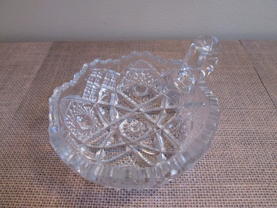 Imperial Cut Glass Bowl Single Handle Nappy Candy Dish Cut
