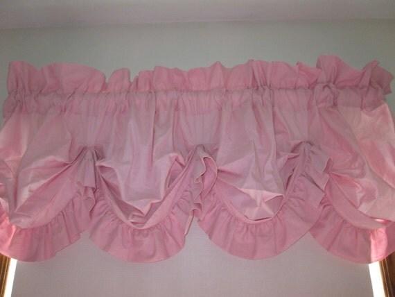 Pink Ruffled Balloon Valance Spring Shabby Pink Curtains