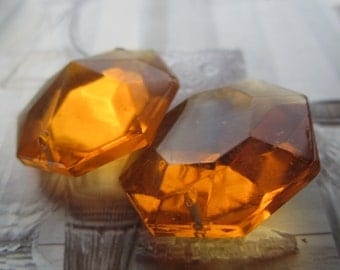 Vintage 1950's Octagonal Topaz Glass Chandelier Drop