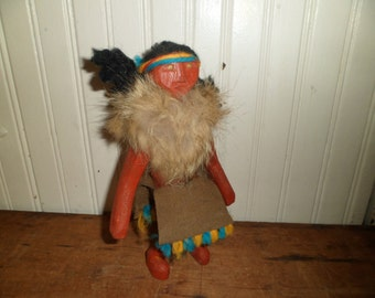 Mid Century Kachina Doll / Hand Carved Toy / Wool Fur