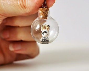 Tiny Jackalope bunny in a glass bubble pendant - miniature rabbit terrarium necklace