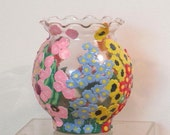 Glass flower vase enhanced with polymer clay