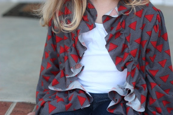 Introductory Sale Price-The Jennifer Sue Ruffled Cardigan-Instant Download