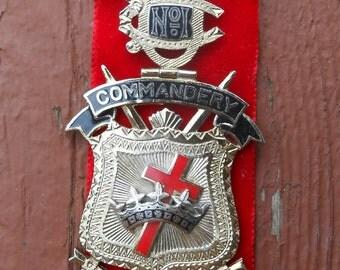 Vintage Masonic Knights Templar Detroit Commandery No. 1 Enameled Medal