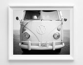 "VW Bus Photograph Unframed / Volkswagen black and white peace hippie / vintage beach car / minimal modern art  / photography print / ""Peace"""