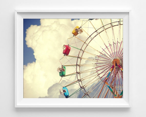 "Ferris Wheel Photograph Unframed / amusement park happy clouds sky child nursery / photography print / ""There's a Ferris Wheel in Heaven"""