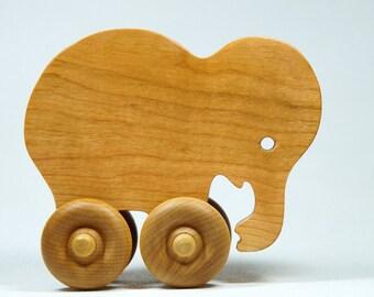 Elephant Car Wood Push Toy
